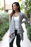 gray open cardigan
