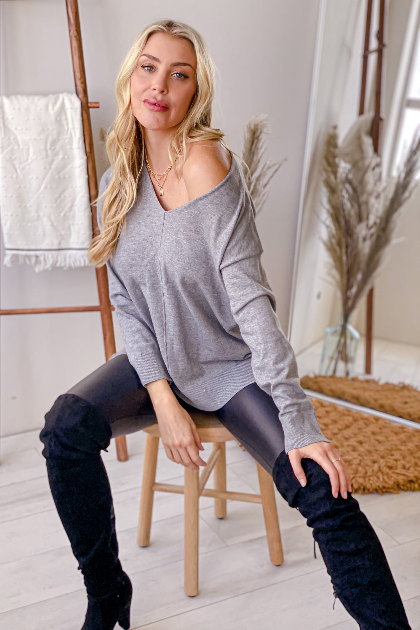 heather gray basic top