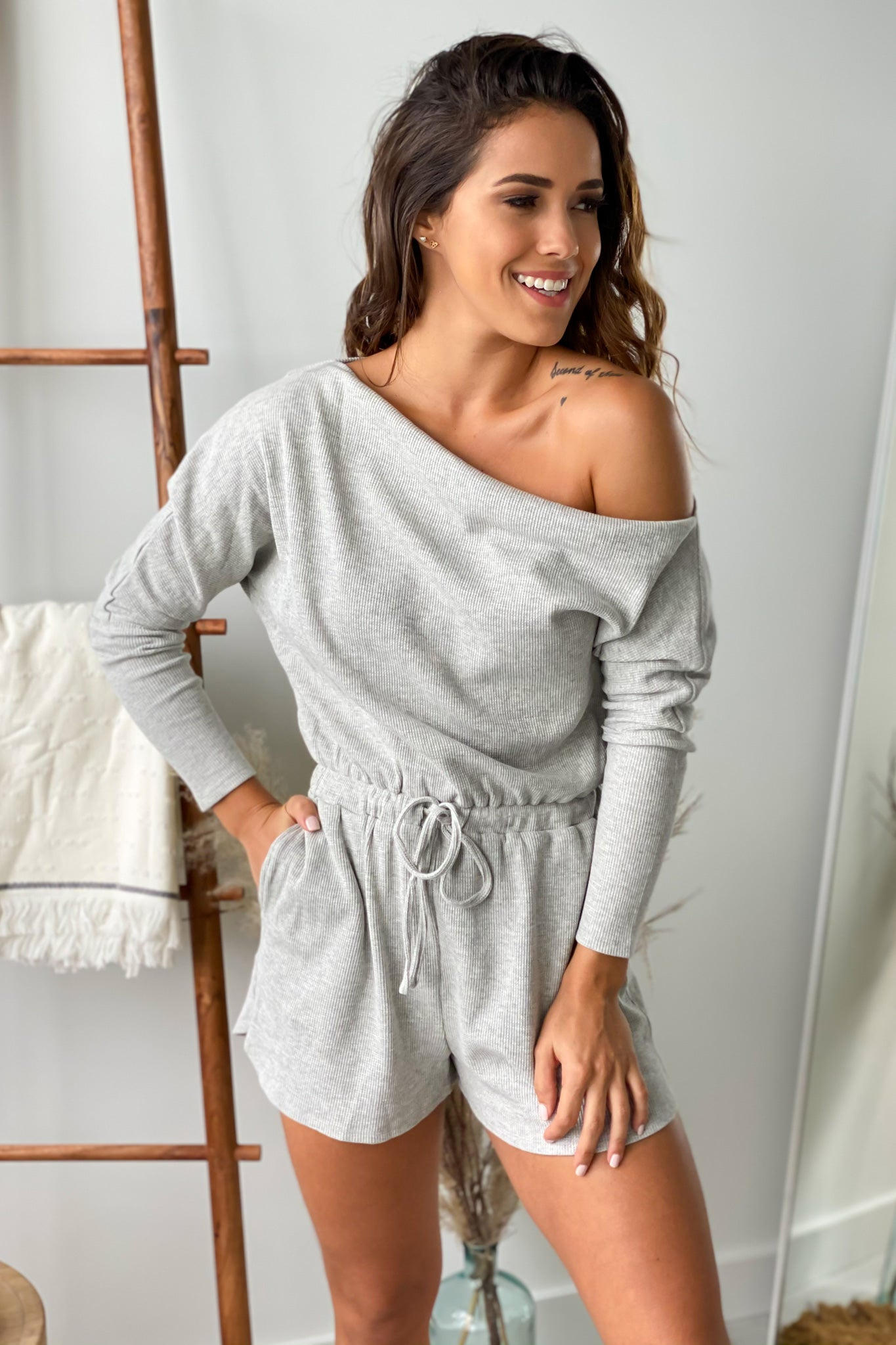 heather gray cute romper