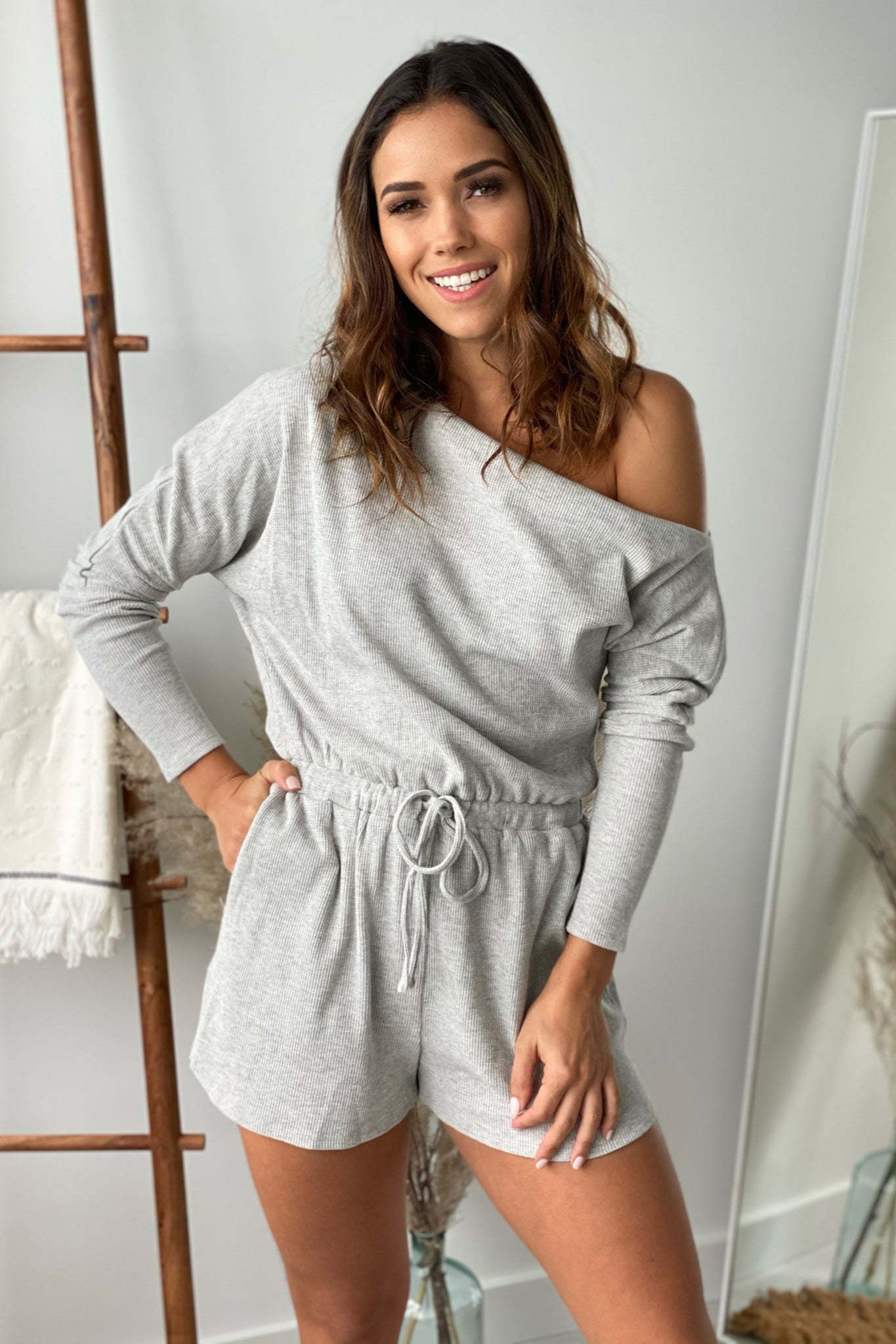 heather gray long sleeve knit romper