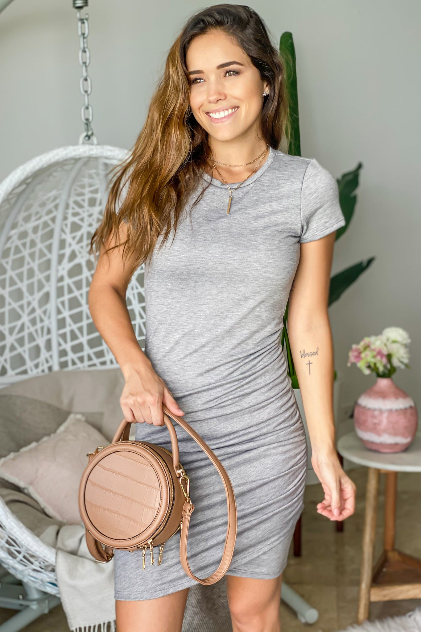 heather gray ruched short dress