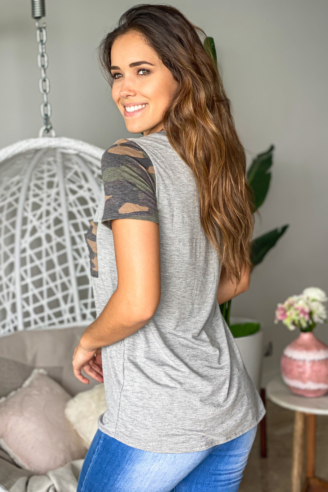 heather gray top with short sleeves