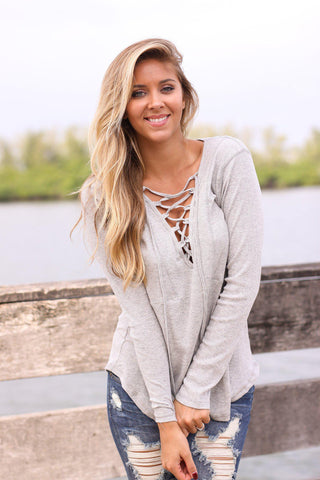 Heather Gray Lace Up Top