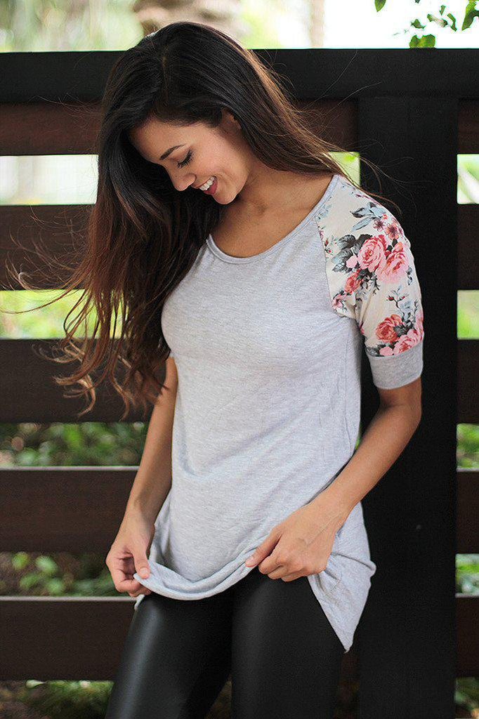 Heather Gray Top With Floral Sleeves