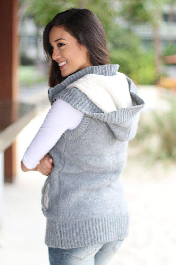 Gray Fur Sweater Vest With Hoodie