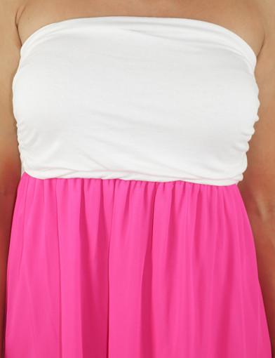 Hot pink and white sleeveless dress - zoomed view