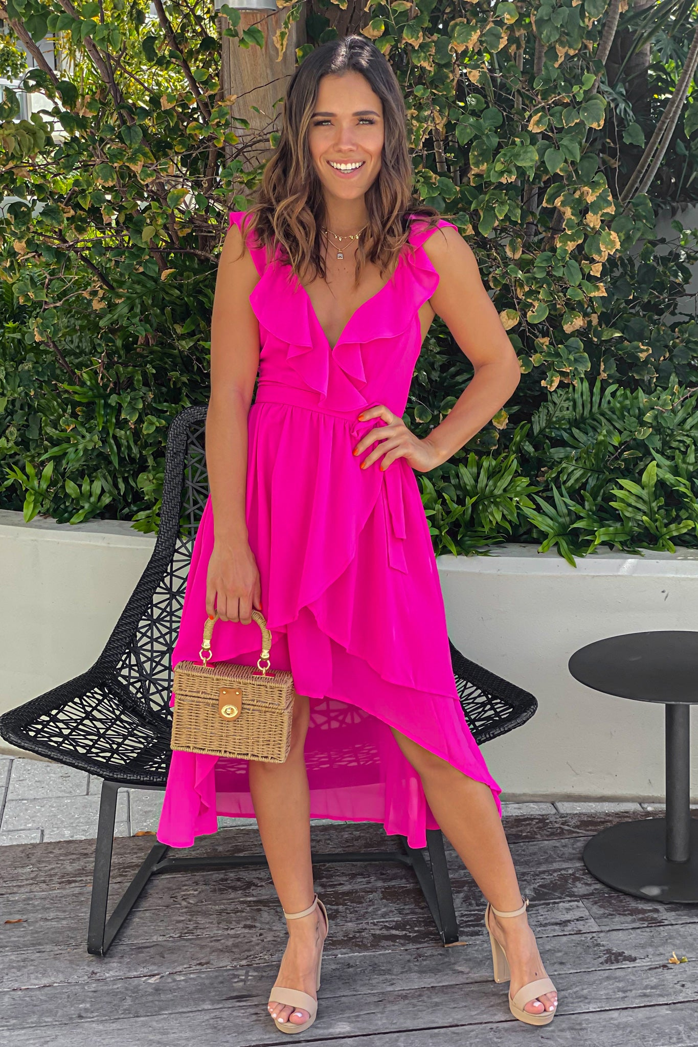 hit pink ruffled high low dress