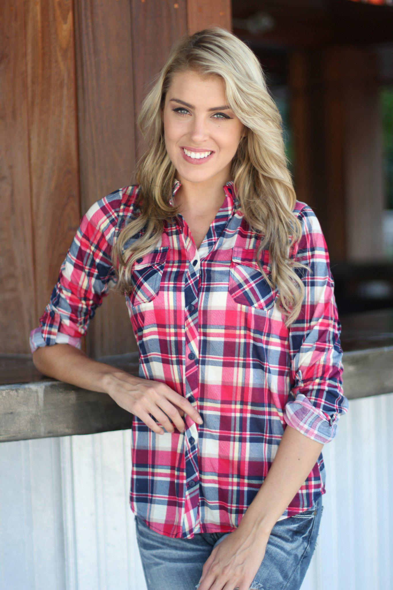 Hot Pink And Navy Plaid Top