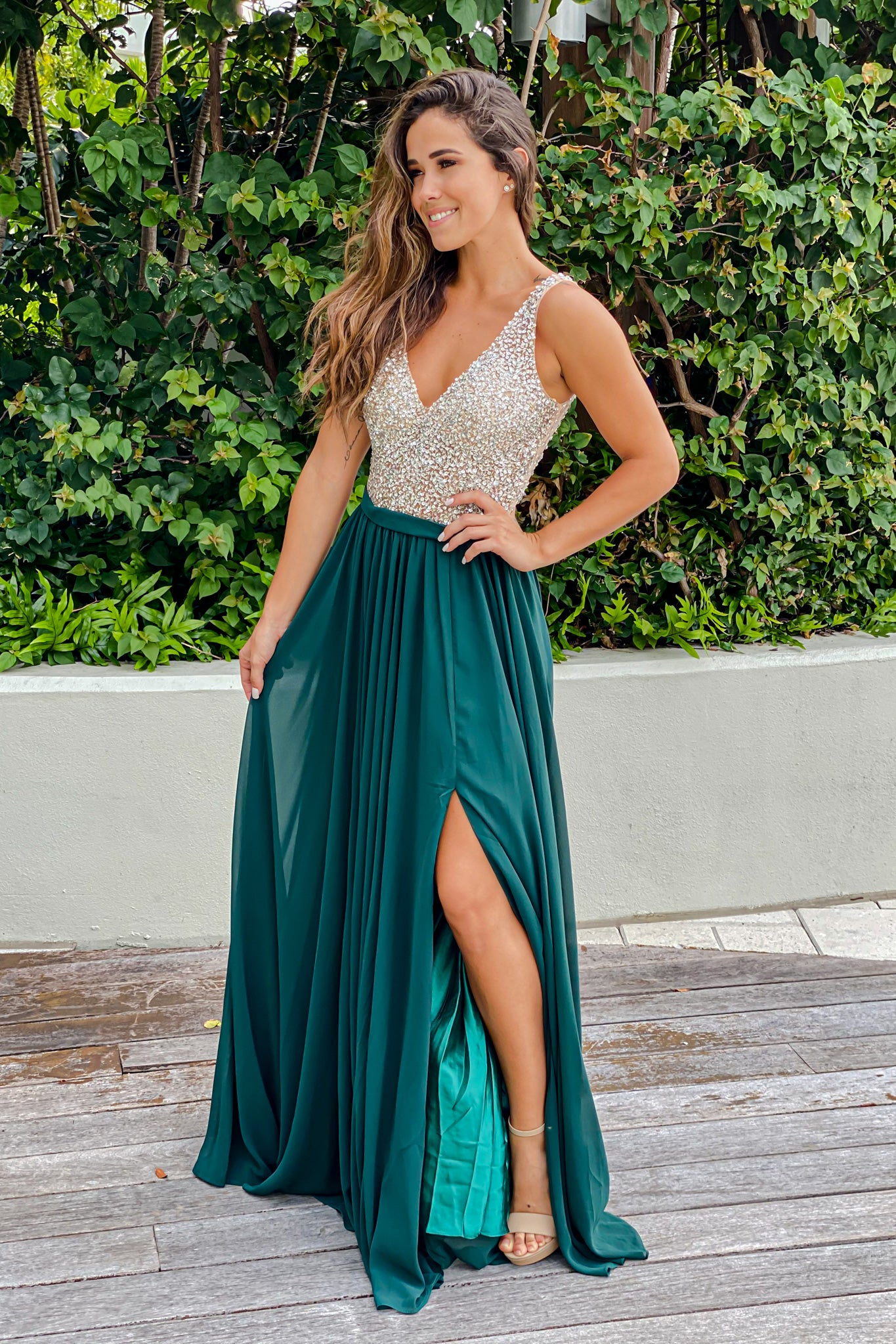Hunter Green Maxi Dress with Silver Jewels