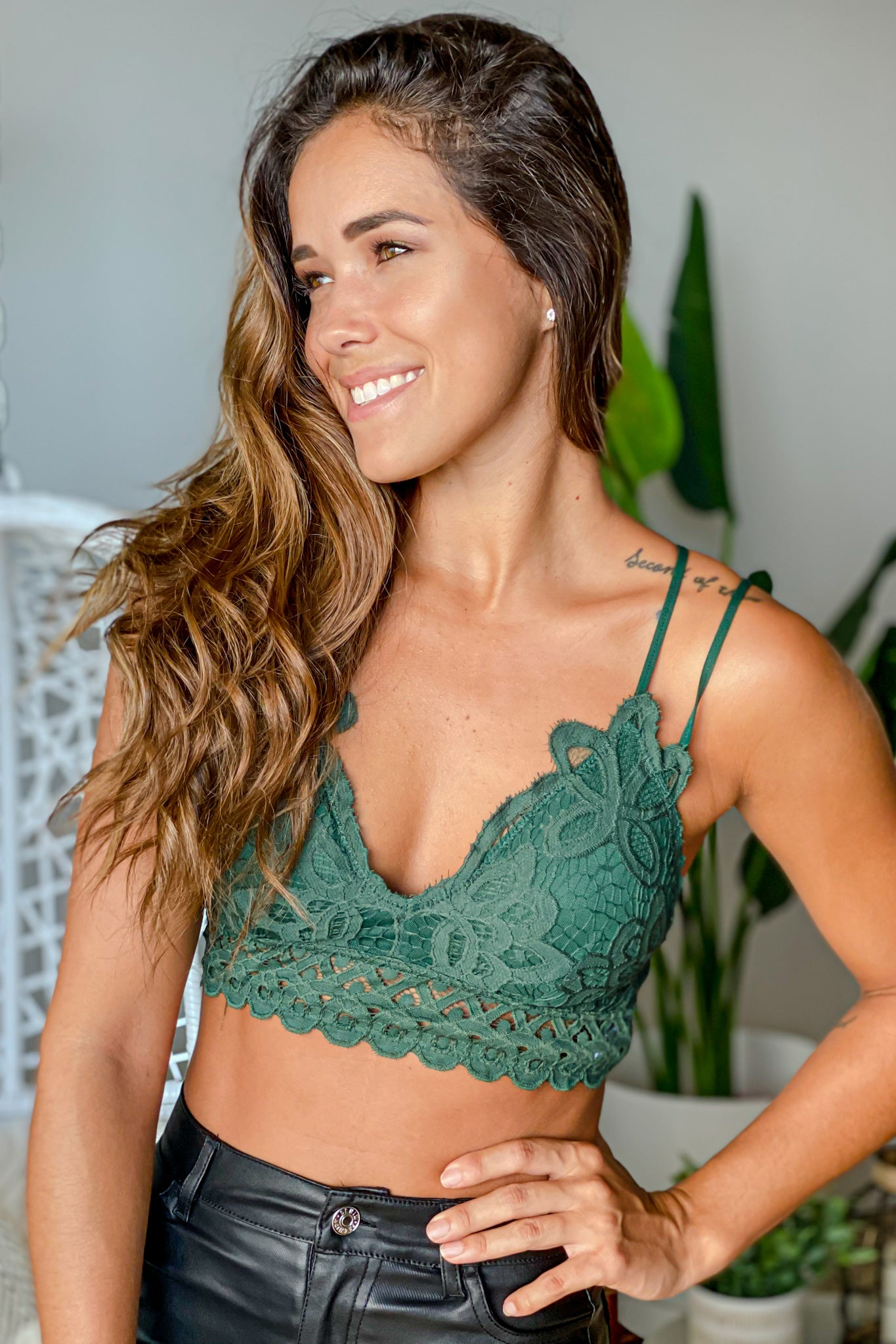 hunter green cute bralette
