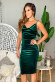 hunter green festive short dress