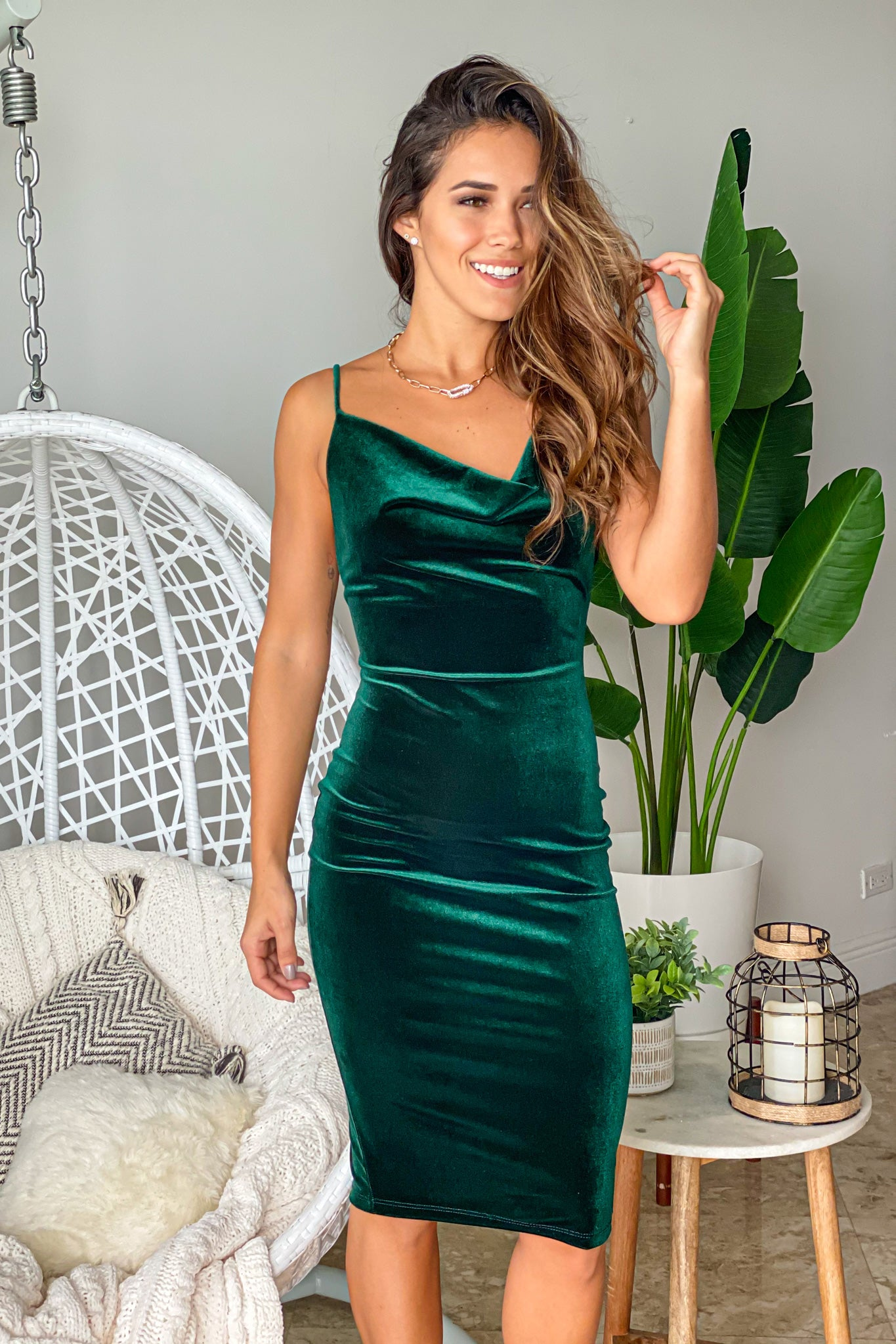 hunter green party short dress
