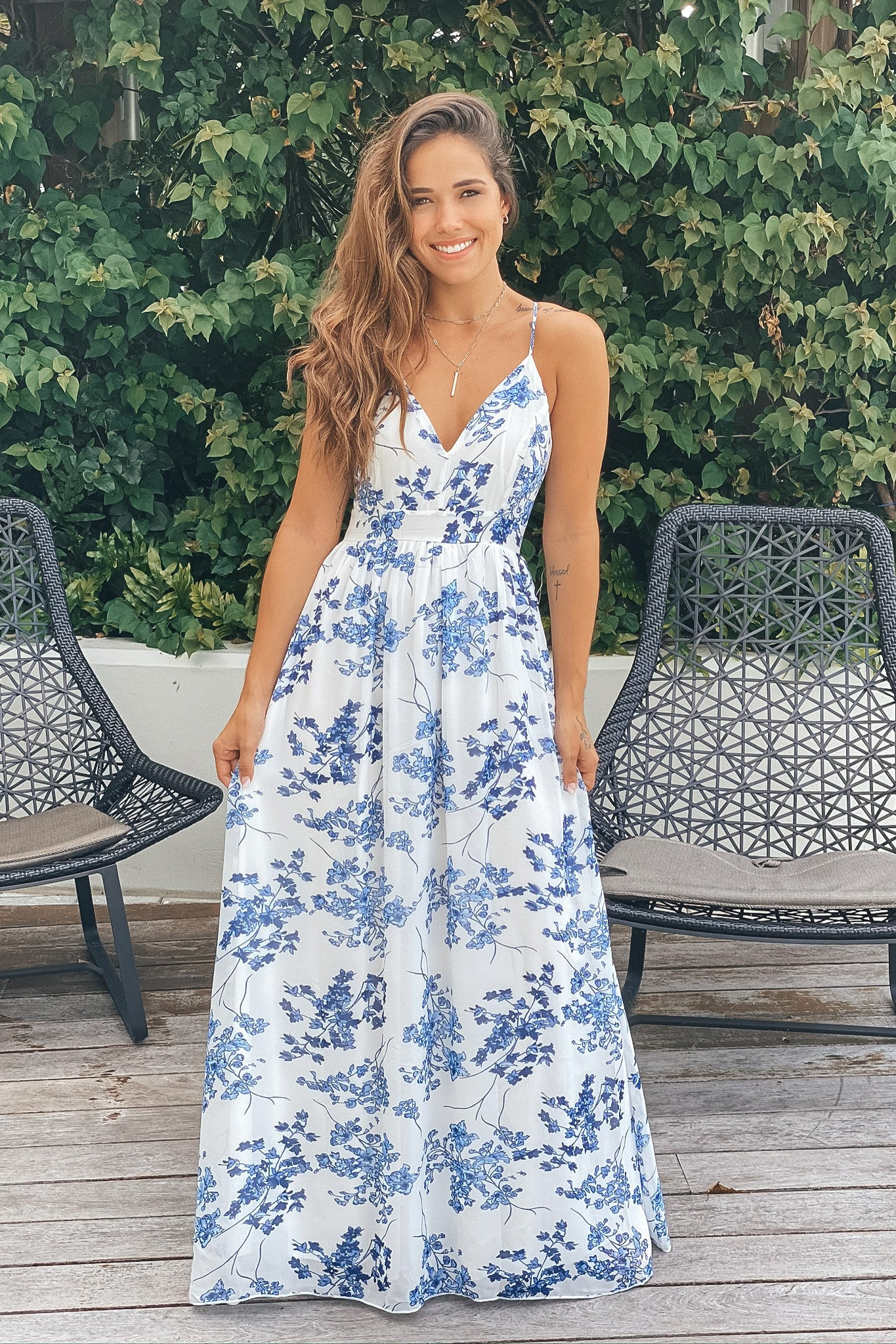 ivory and blue floral prom dress