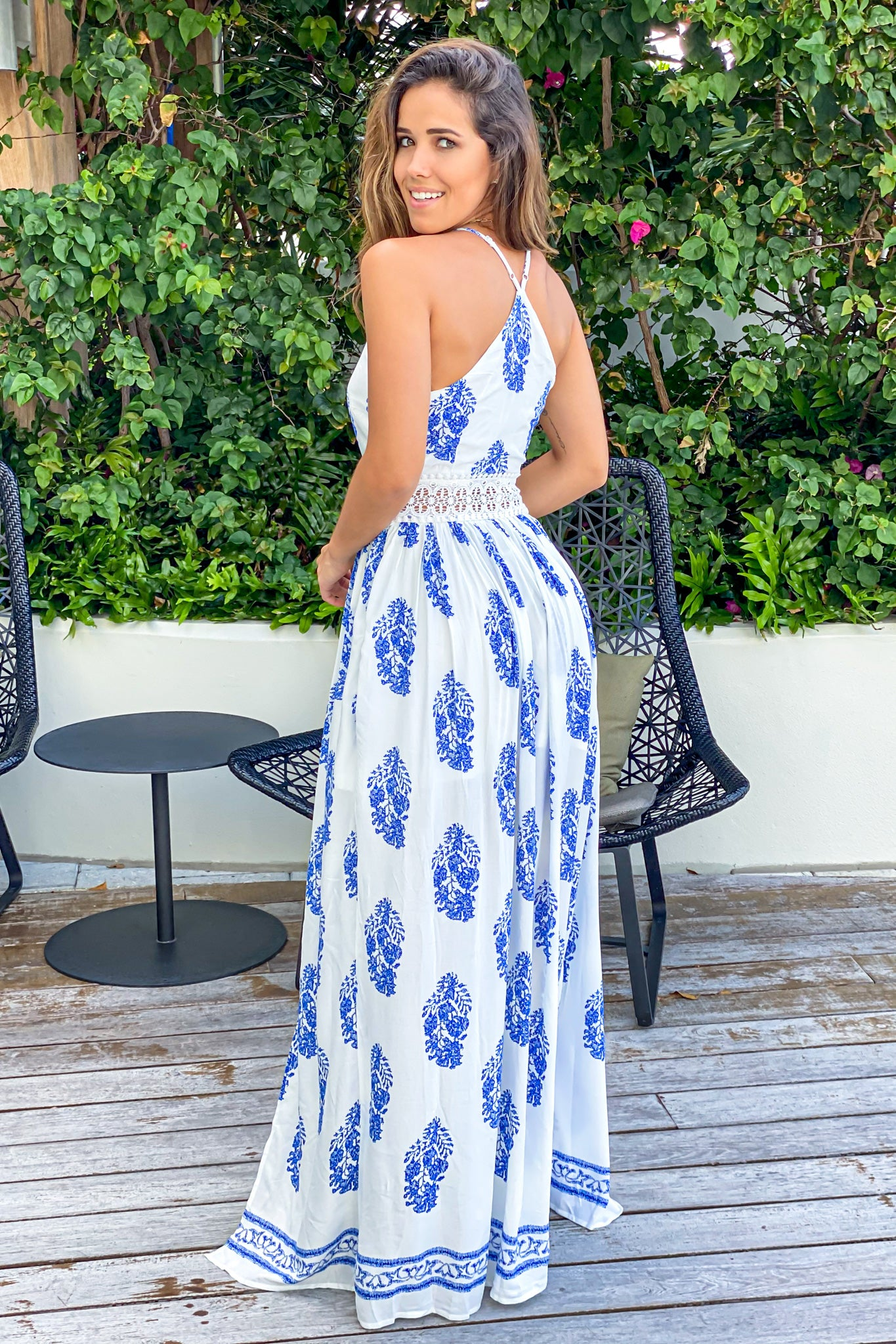 ivory and blue maxi dress with racerback