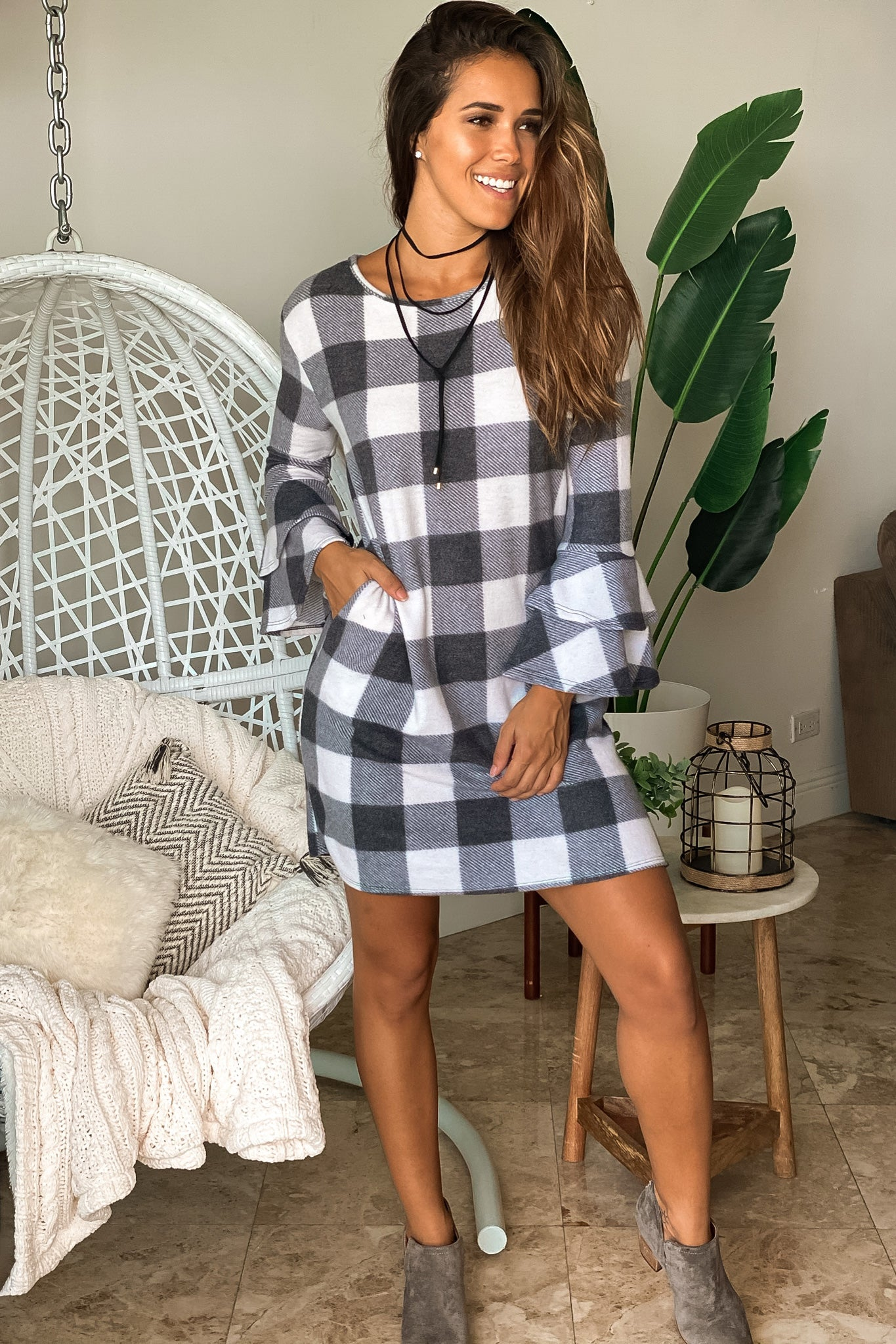 ivory and charcoal checkered short dress