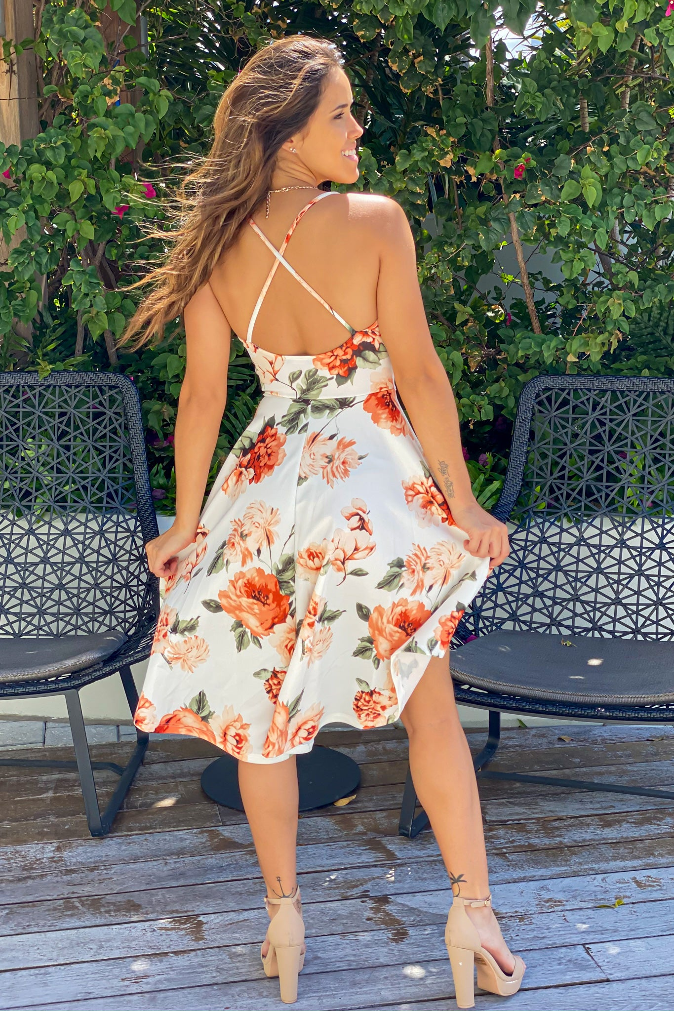 ivory and peach floral dress with open back