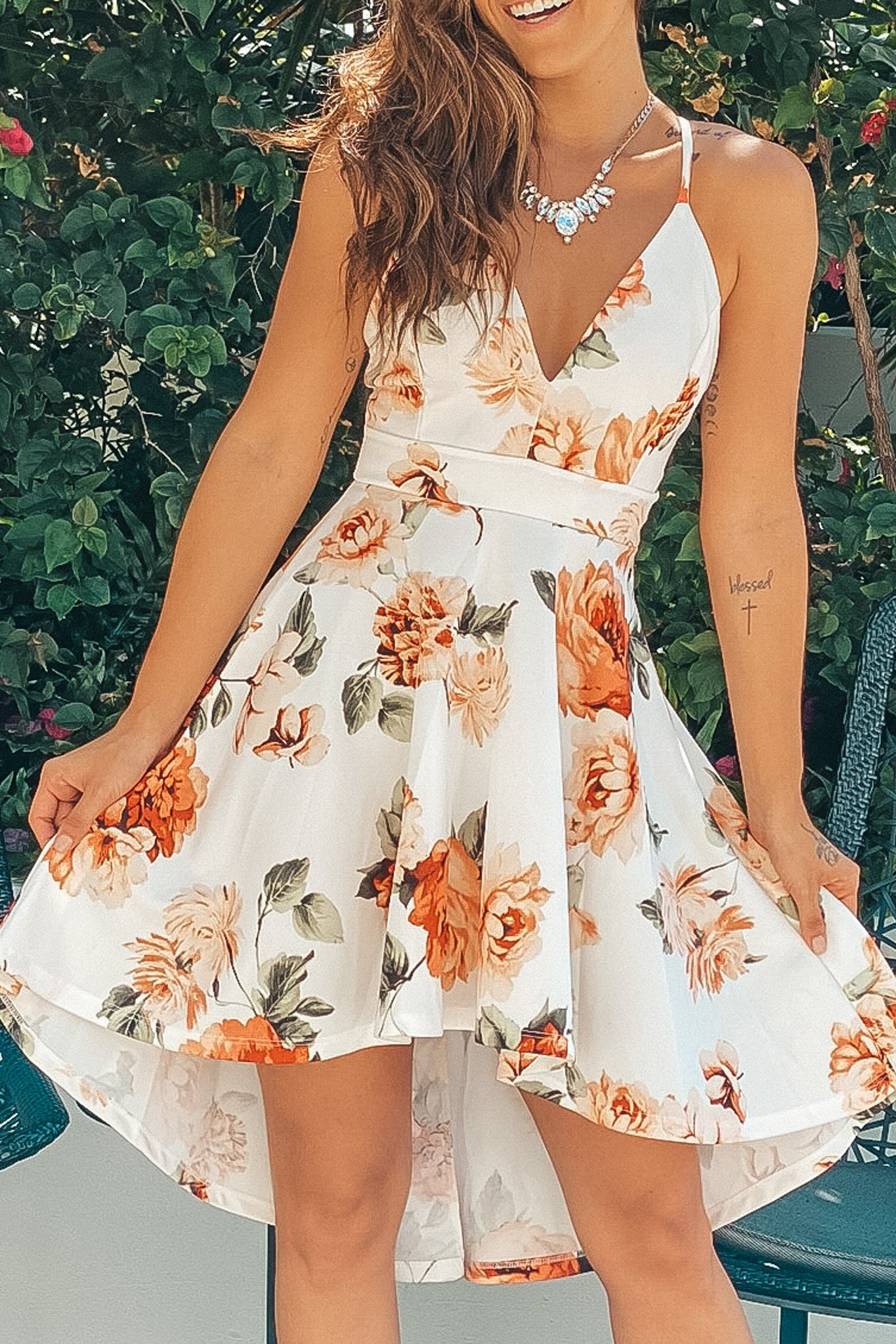 ivory and peach floral short dress