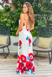 ivory and red bridesmaid maxi dress