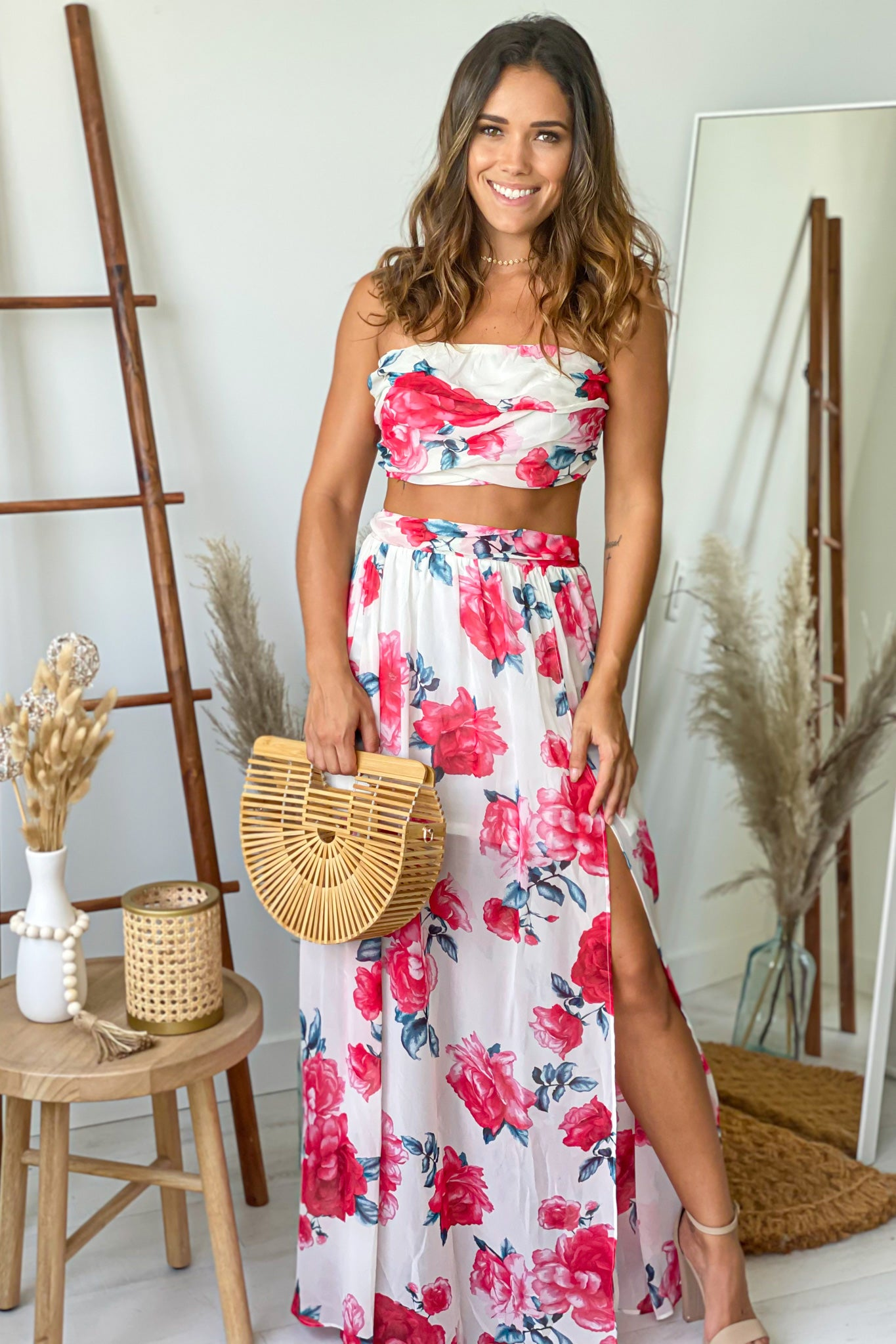 ivory and red floral skirt and top set