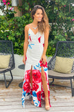 ivory and red prom maxi dress