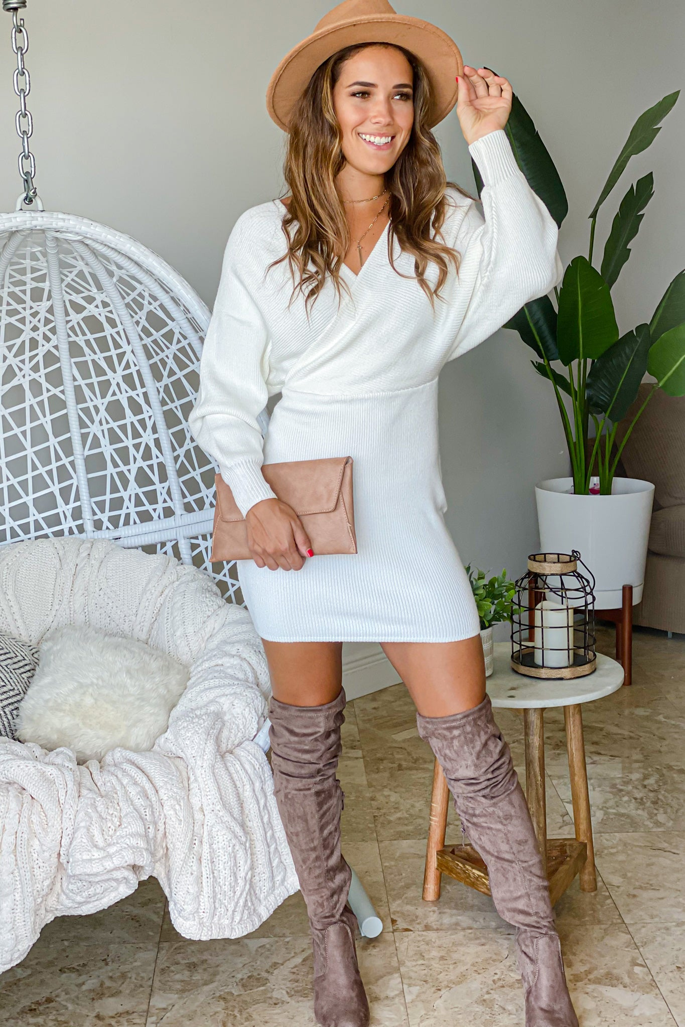 ivory casual short dress