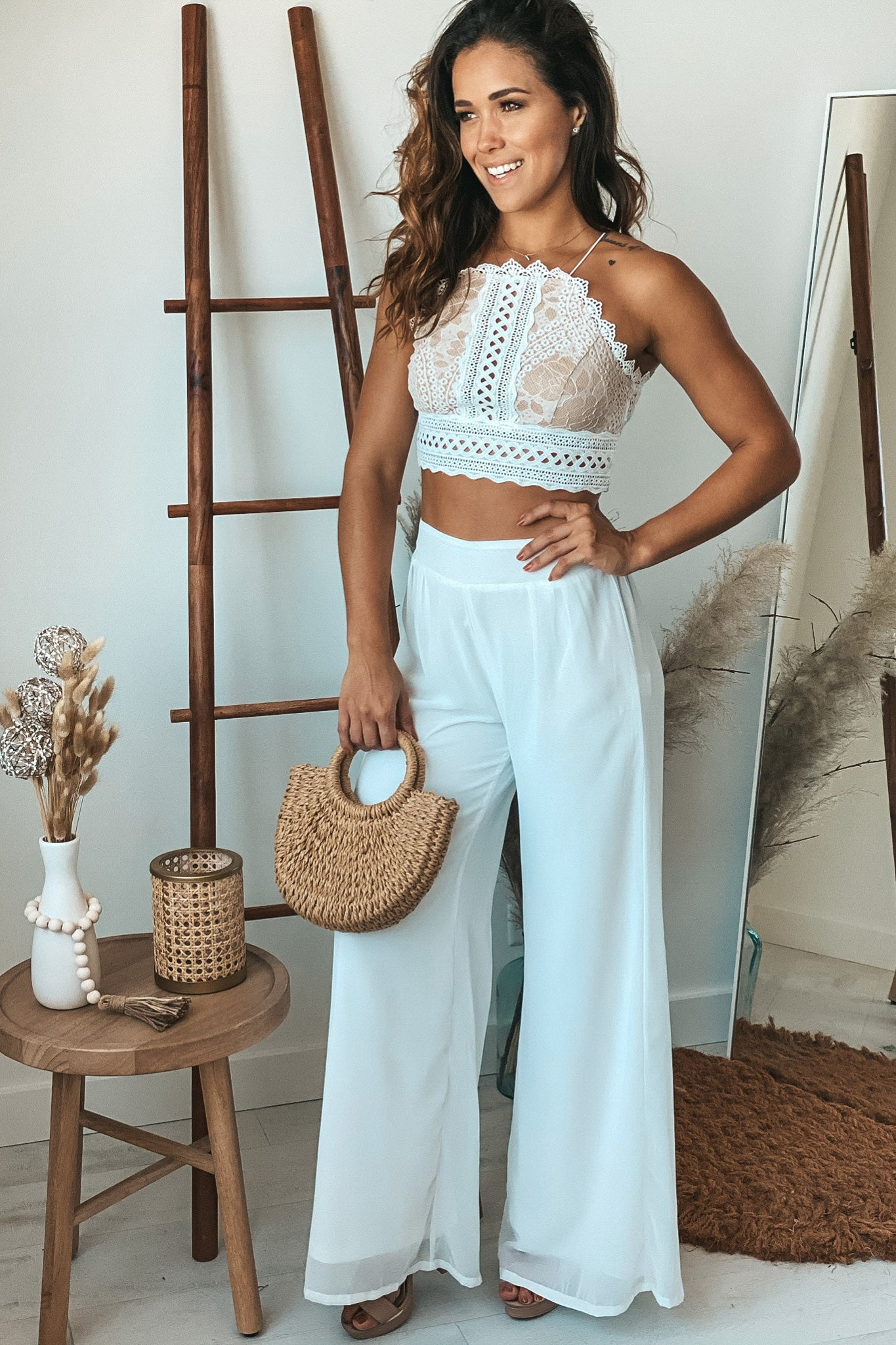 ivory crochet crop top and pants set