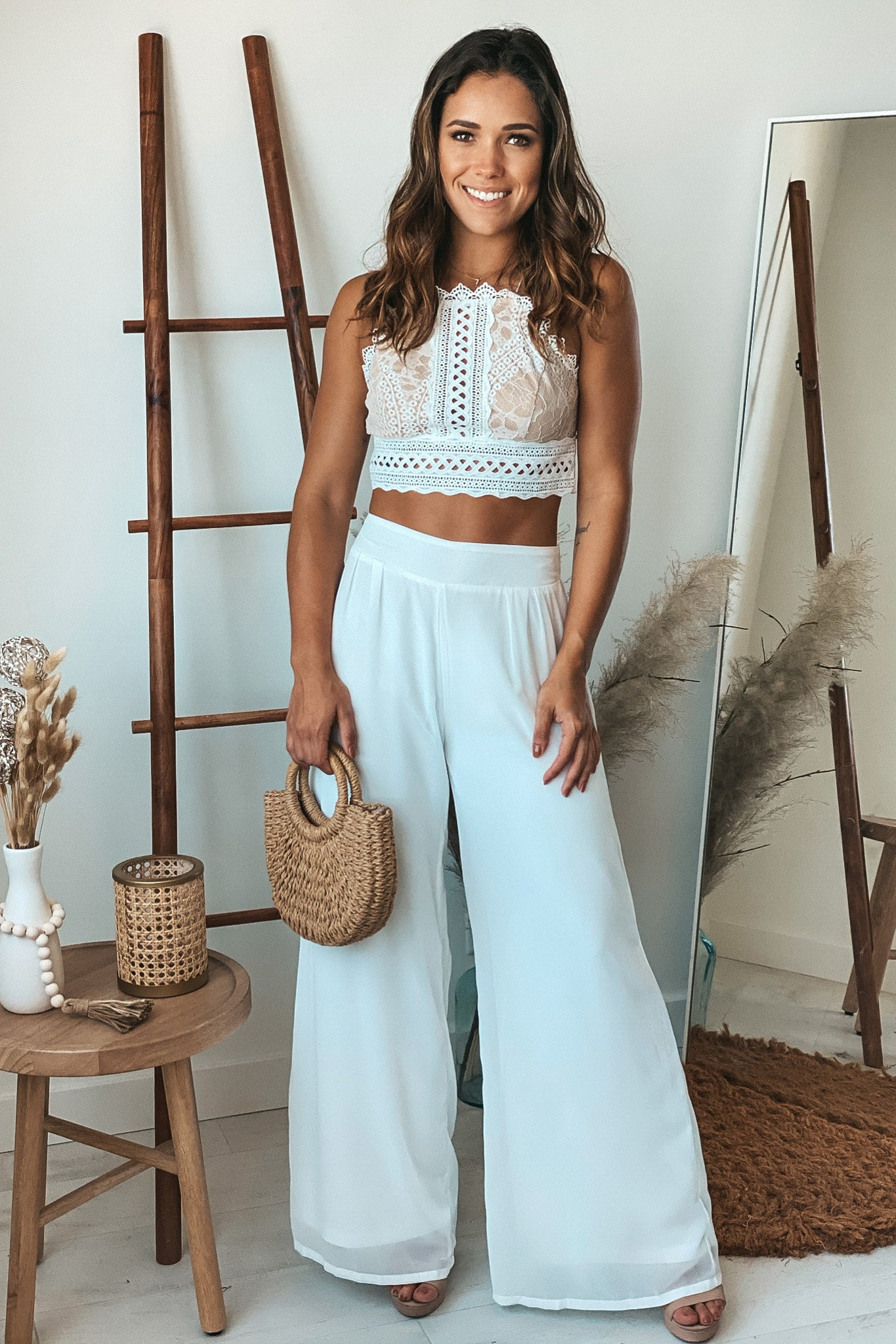ivory crochet top and palazzo pants set
