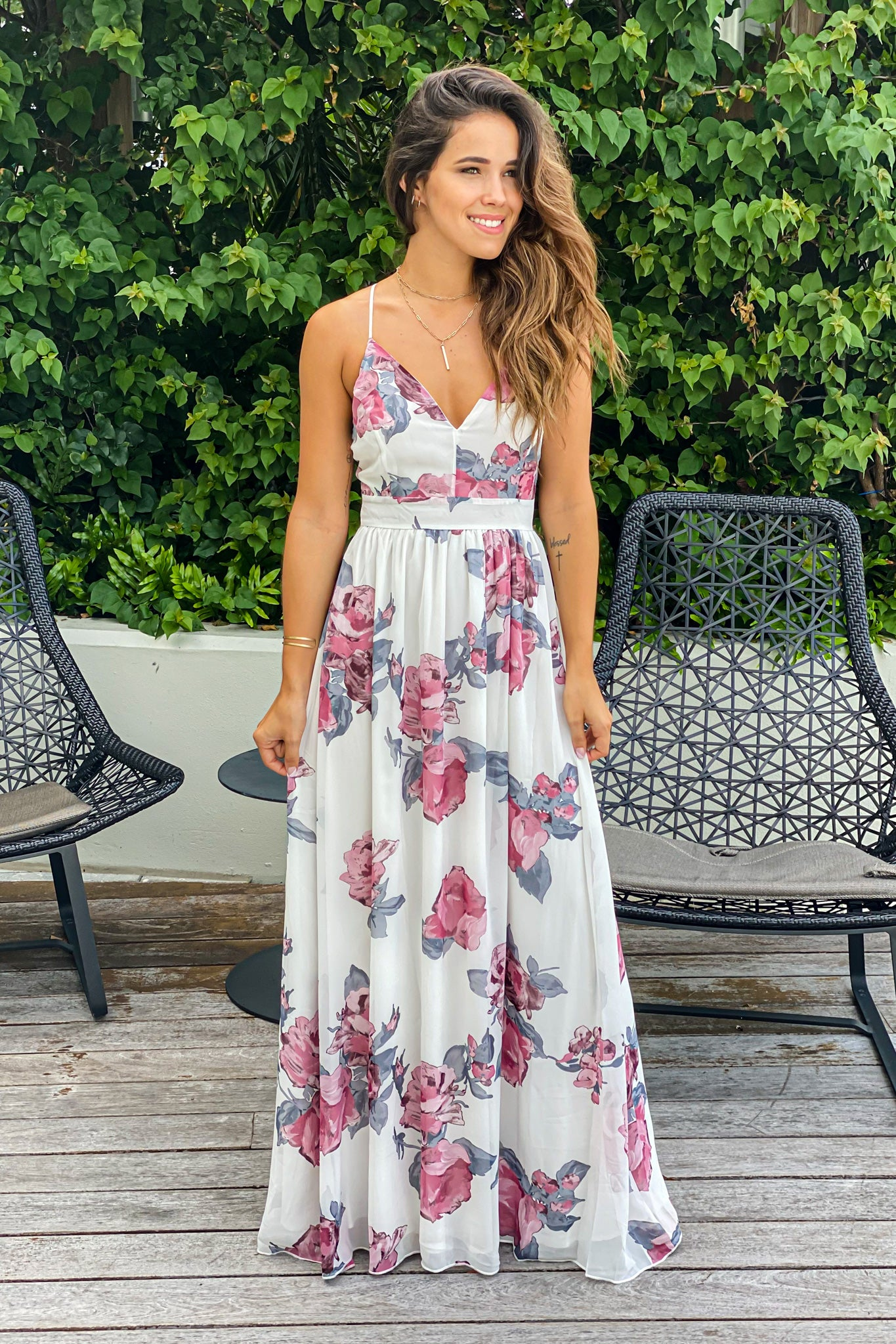 ivory floral bridesmaid dress