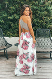 ivory floral maxi dress with lace back