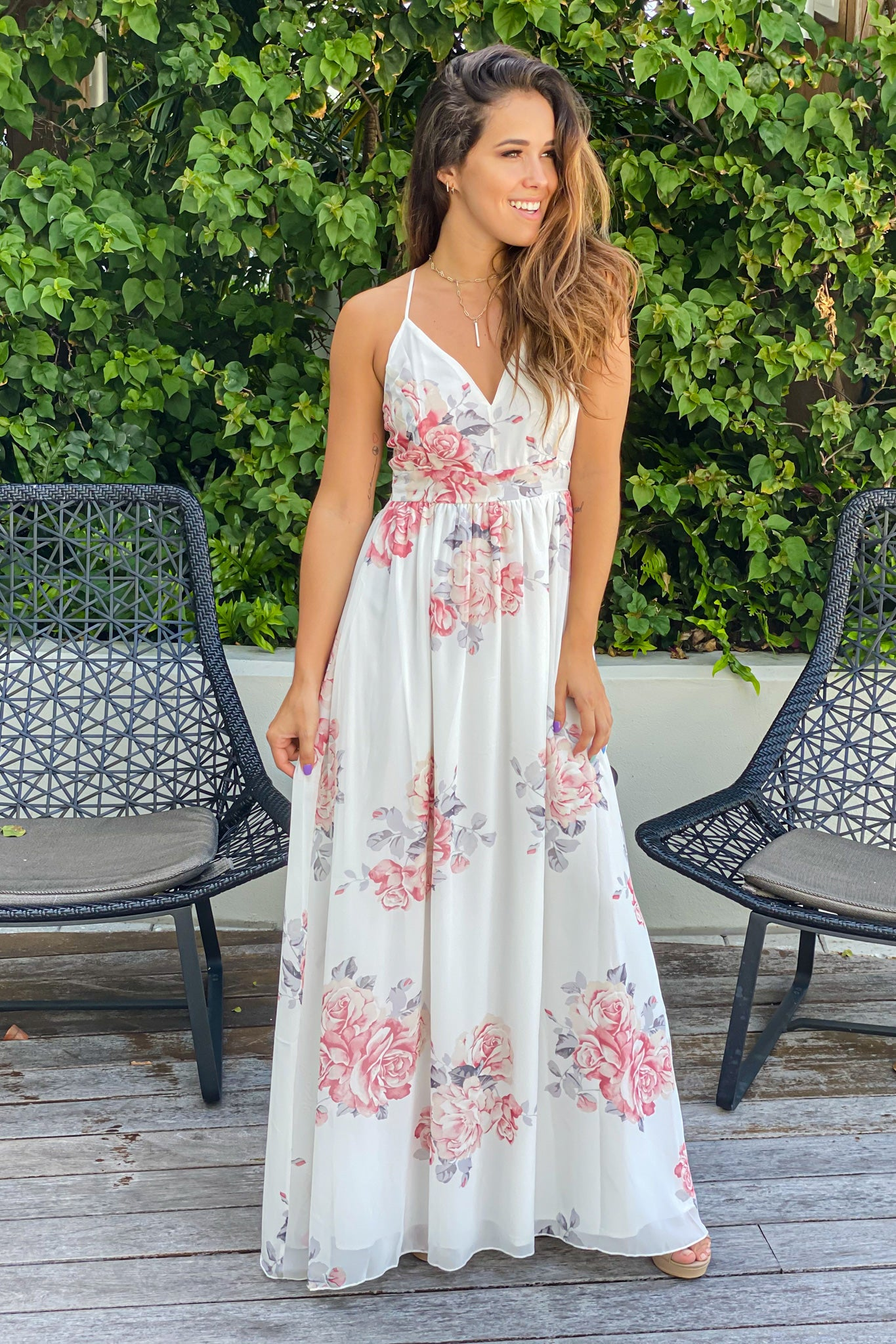 ivory floral summer maxi dress