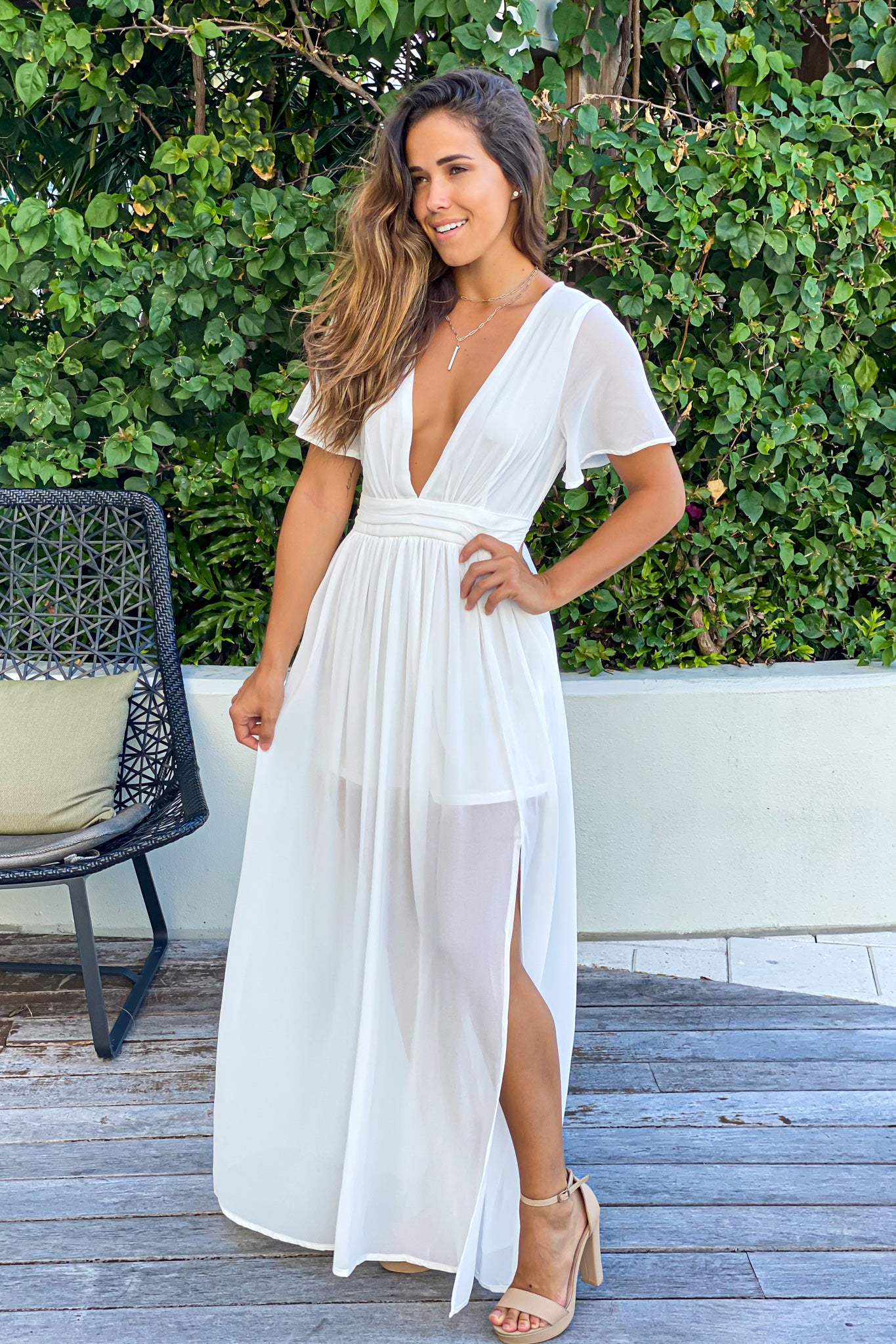 ivory formal maxi dress