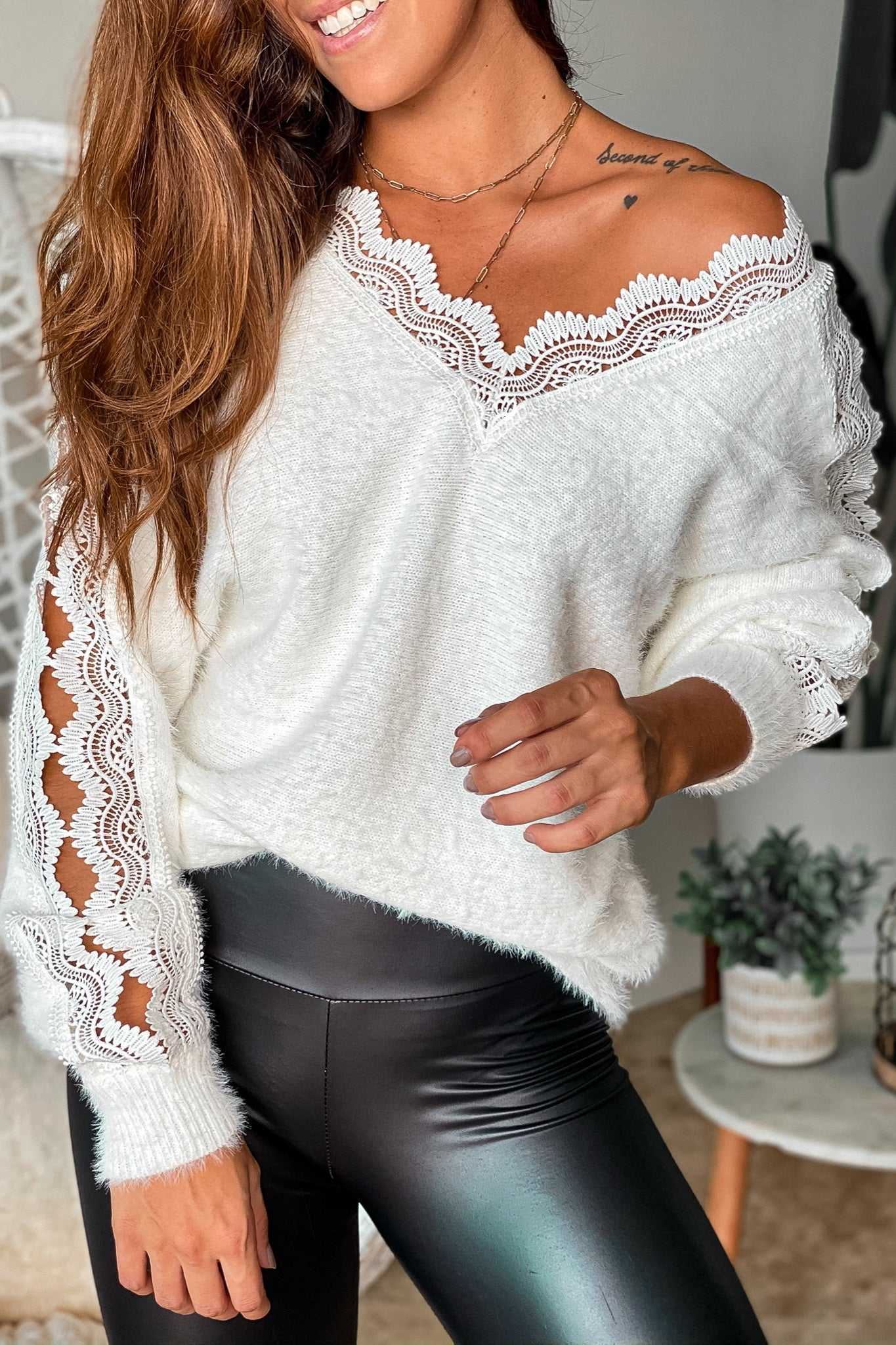 Ivory Fuzzy Top With Open Crochet Detail