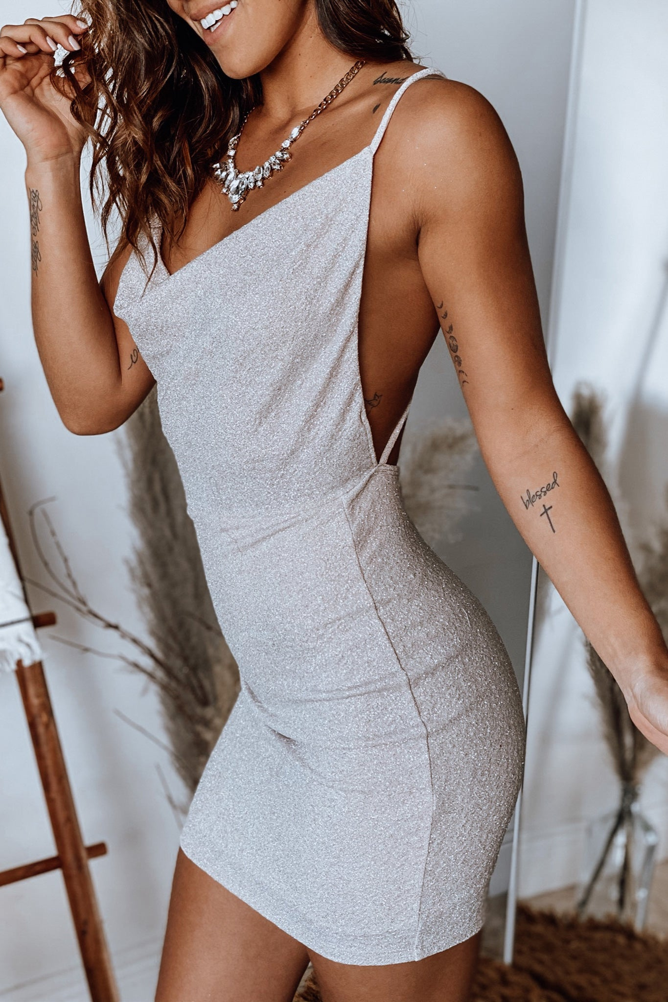 ivory glitter short dress with criss cross back