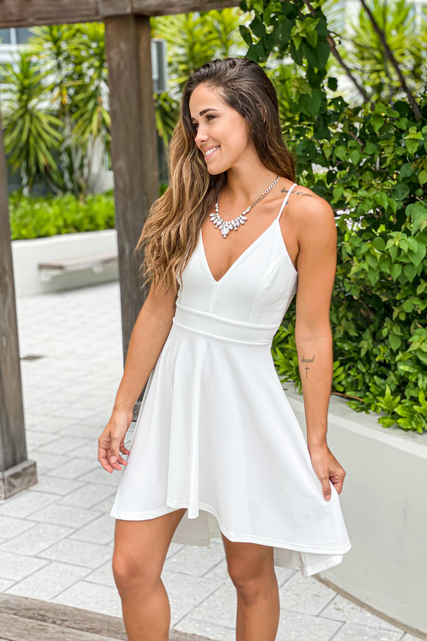 ivory high low cocktail dress