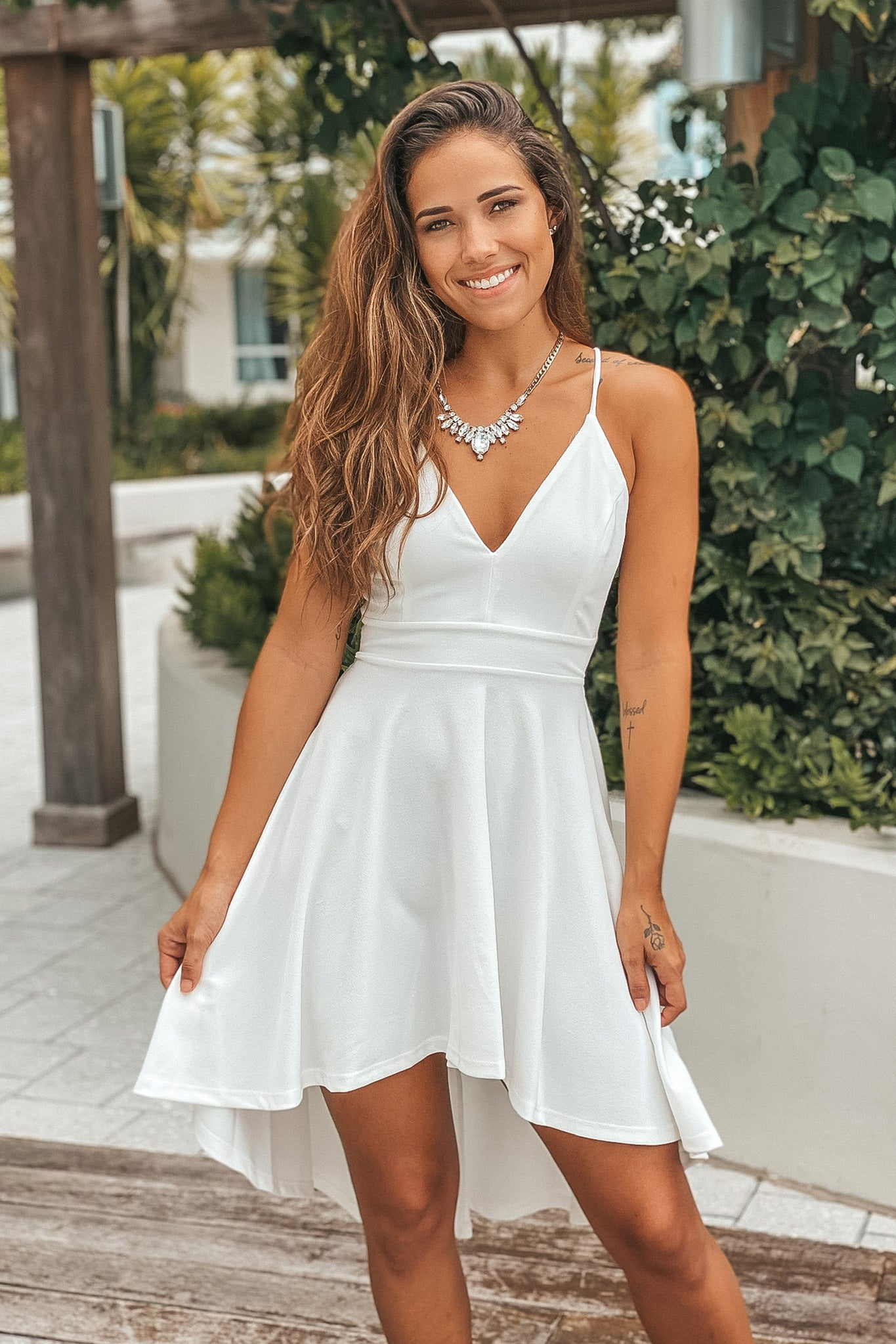 ivory high low prom dress