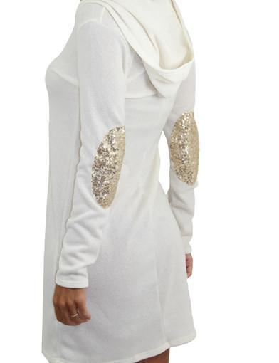 Ivory hooded dress with patches - zoomed view