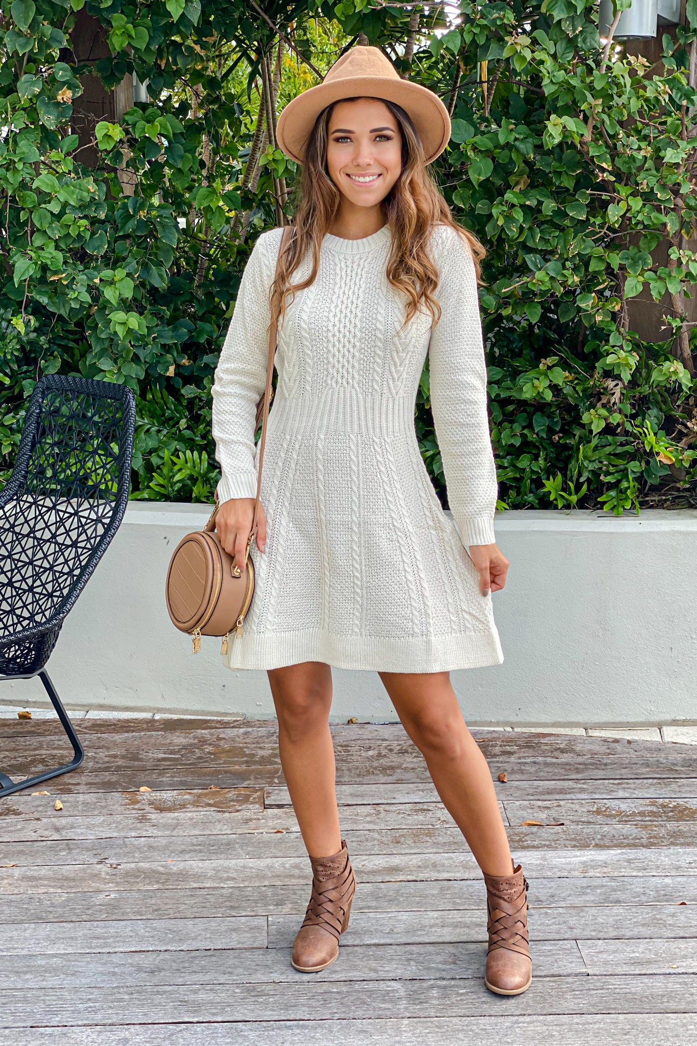 ivory knit cute short dress