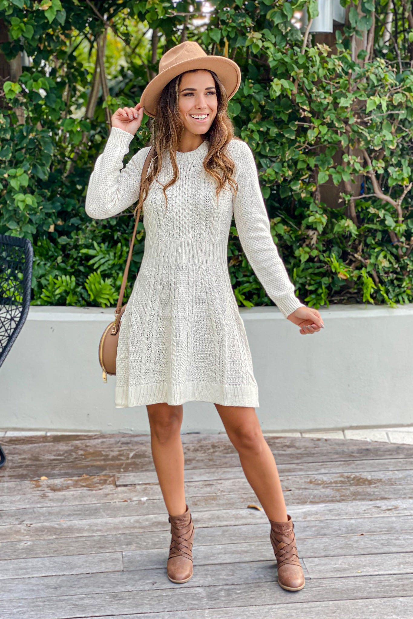 ivory knit flare short dress