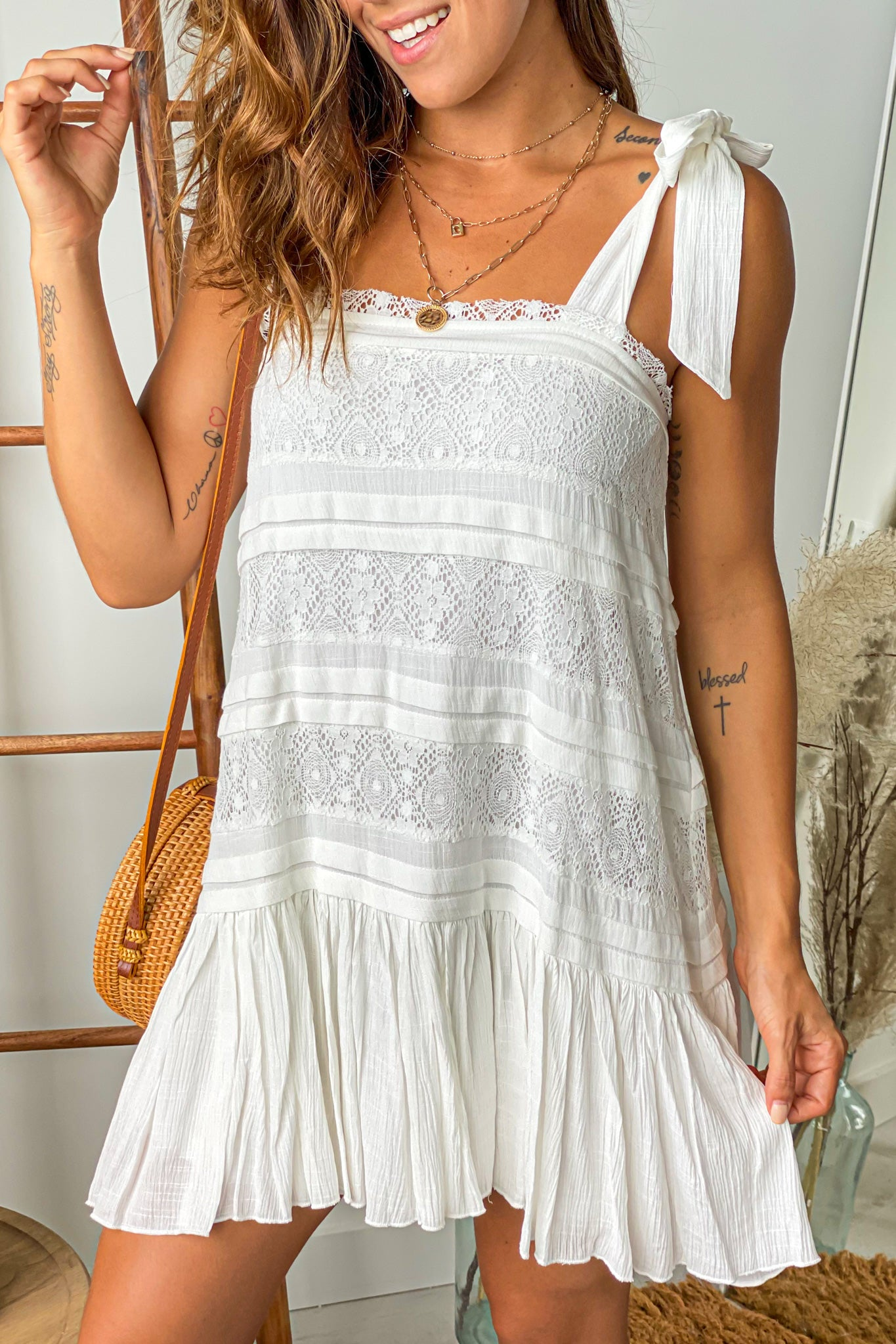ivory lace short dress with self tie straps