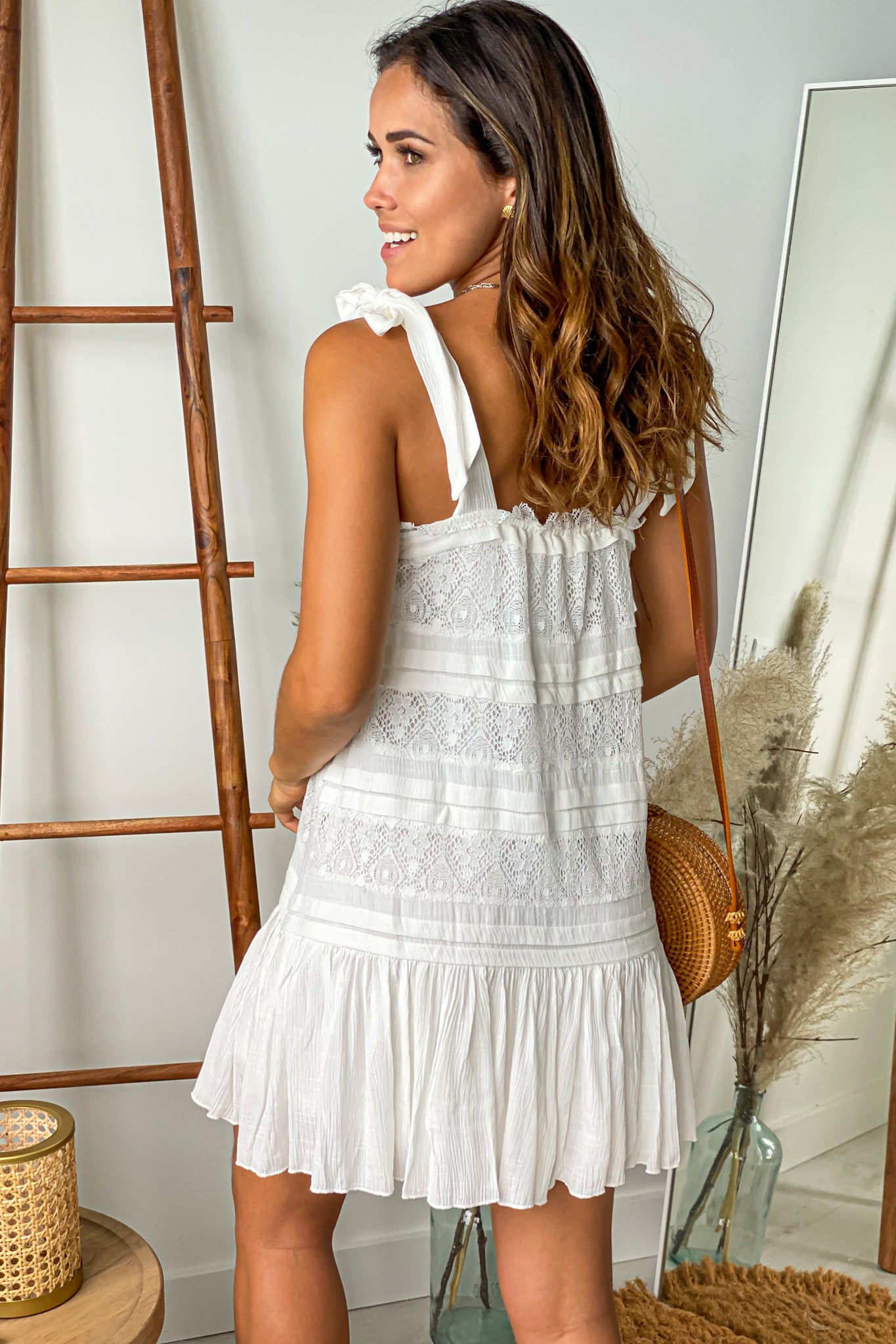 ivory lace short dress