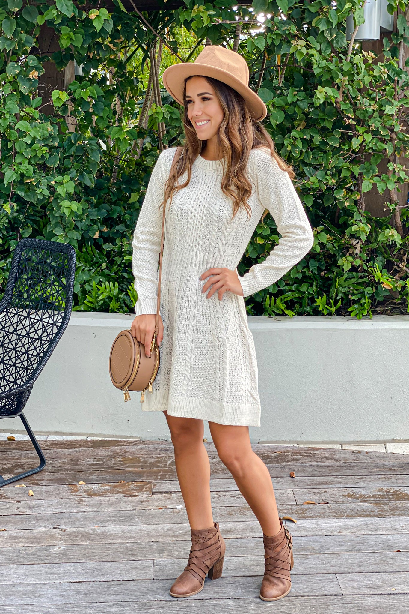 ivory long sleeve short dress