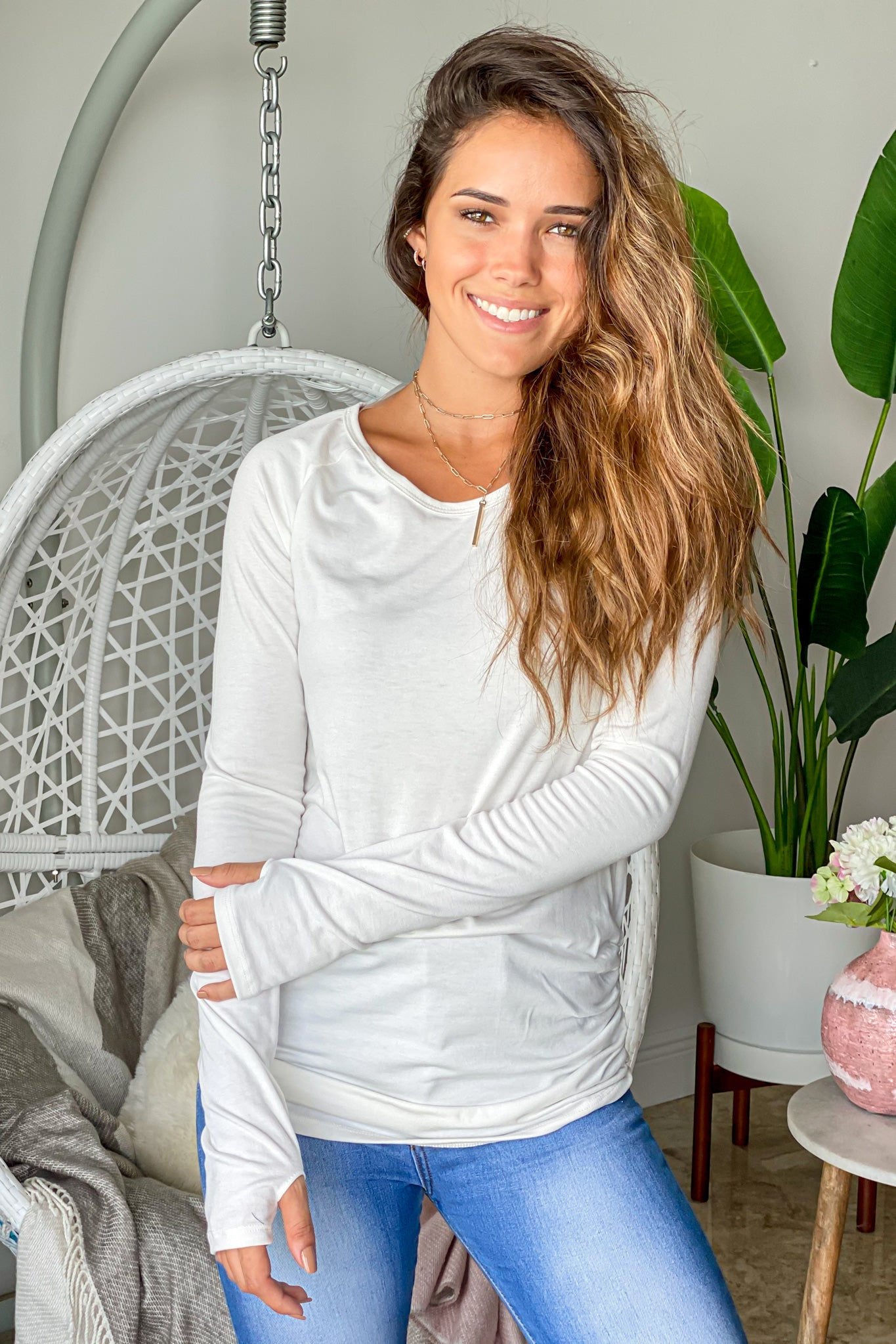 ivory long sleeve top with thumb holes