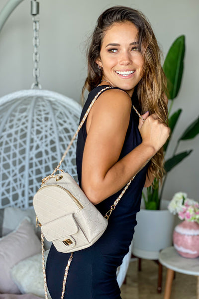 Ivory Quilted Mini Backpack