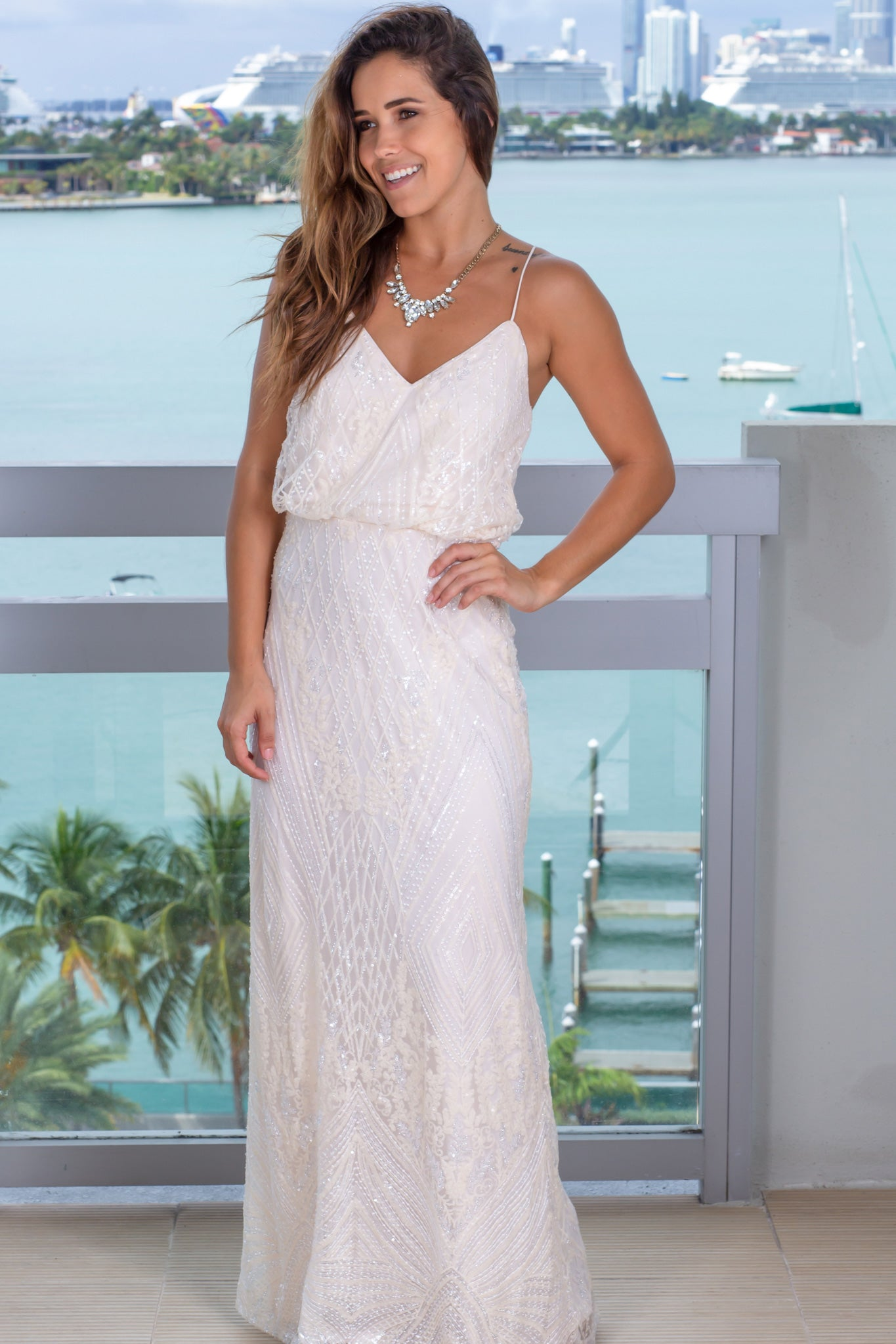 ivory sequin maxi dress