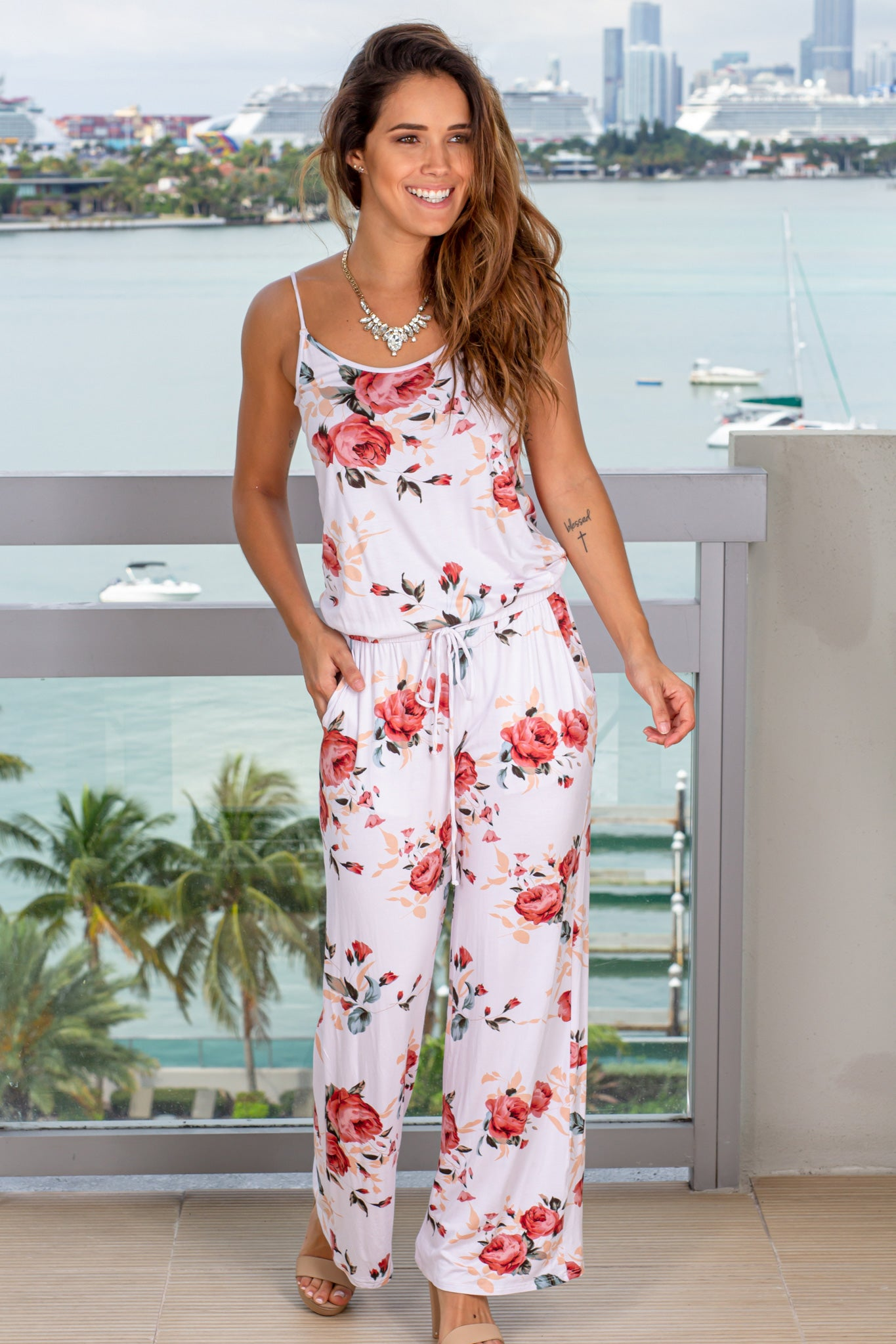 ivory stay at home jumpsuit