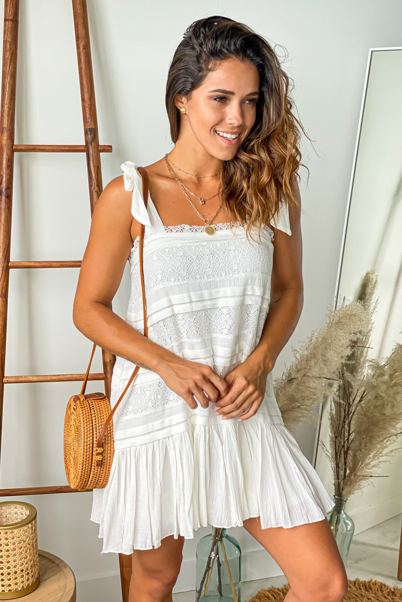 ivory summer short dress