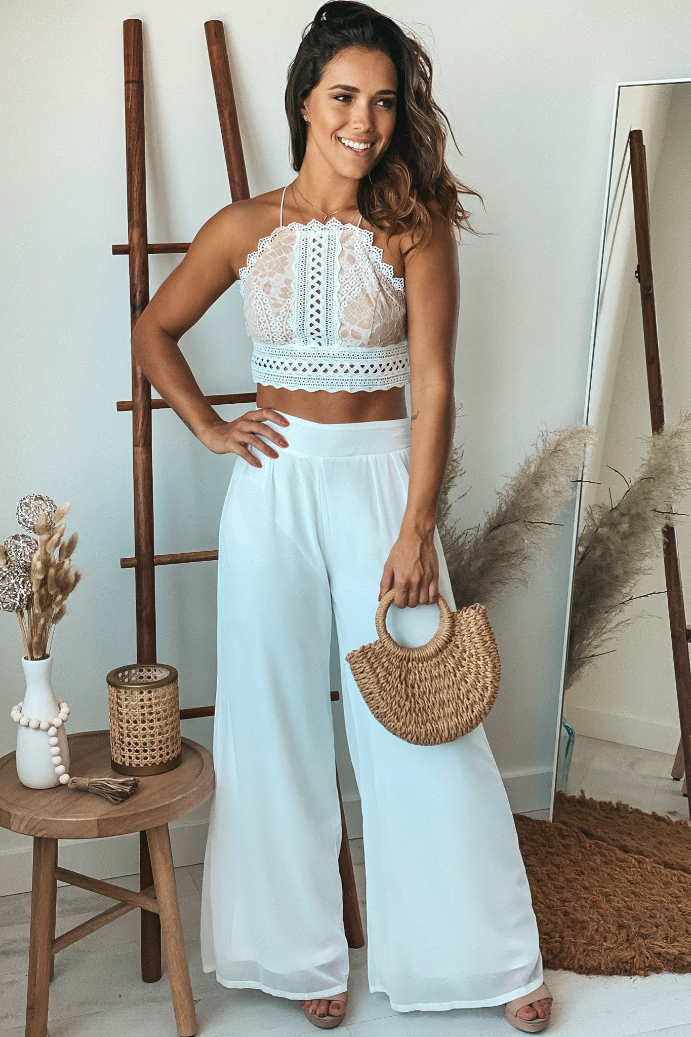 ivory summer top and pants set