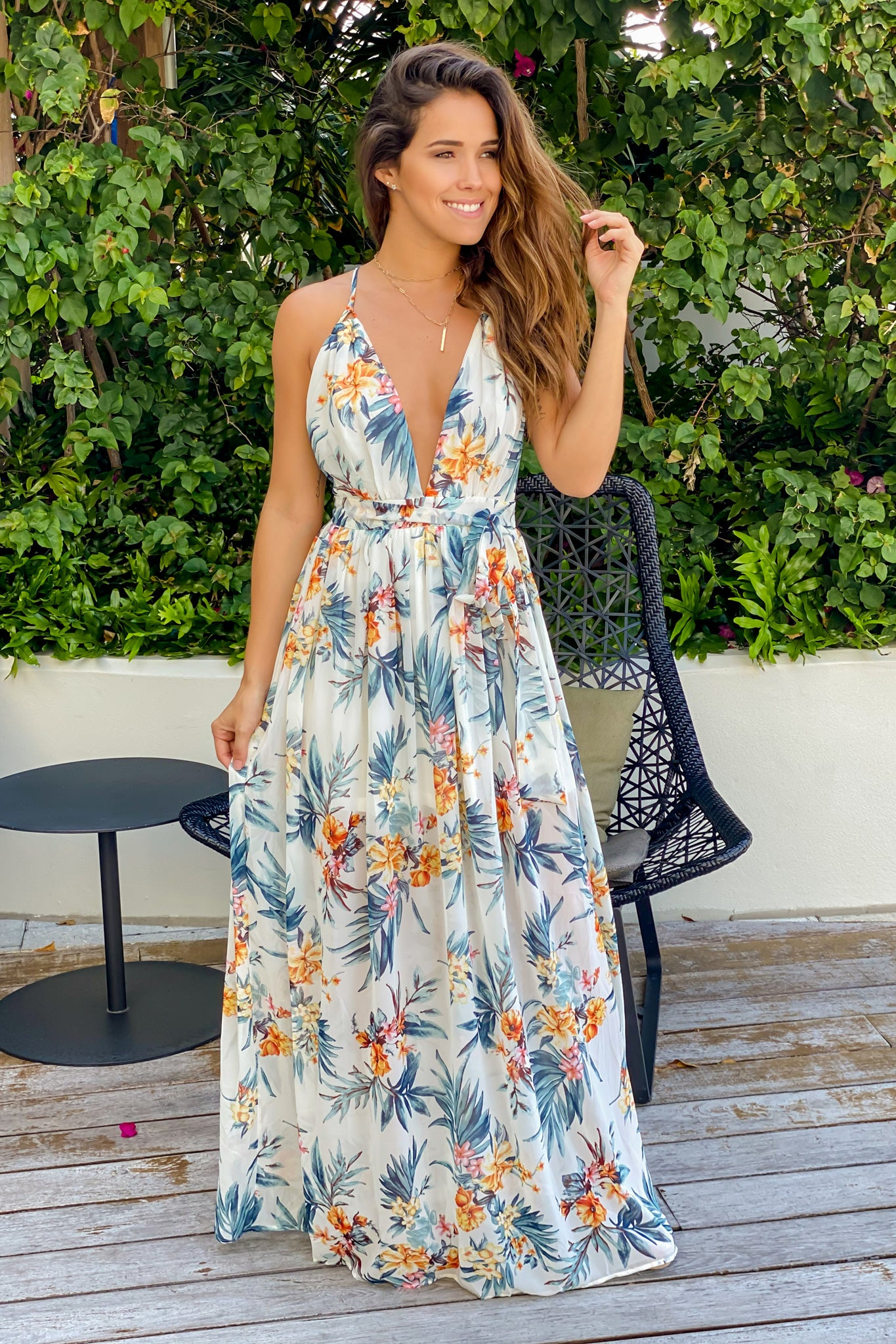 ivory tropical vacation dress