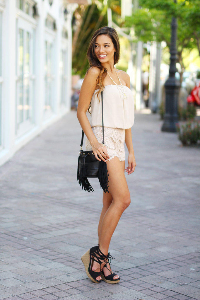 taupe party romper