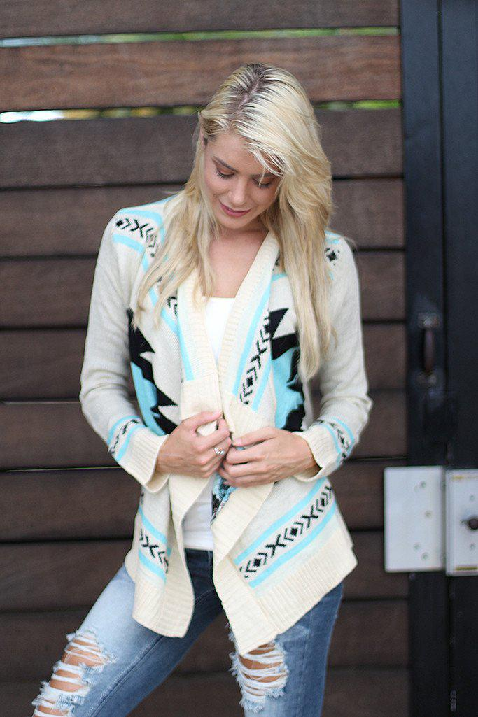 Ivory and Aqua Knit Cardigan